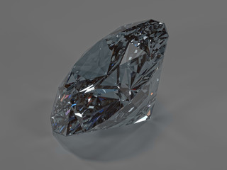 Shining diamond on a gray background, side view