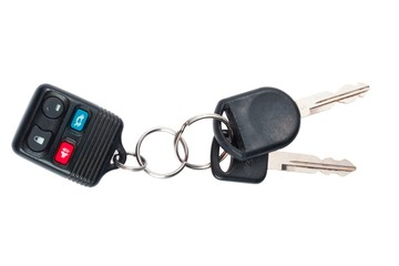 detailed shot of car keys with push buttons