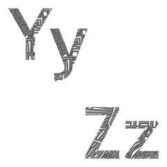 letters of the alphabet in style zentangle yz