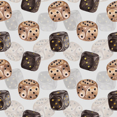 Seamless pattern with dice. Watercolor illustration.