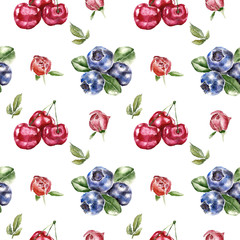 Seamless pattern with berry. Watercolor illustration.