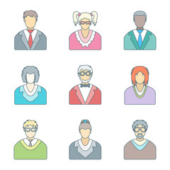 vector color outline various people in glasses icons set
