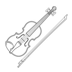 vector grey outline vector violin fiddle bow on white background