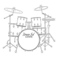 vector outline drum set on white background
