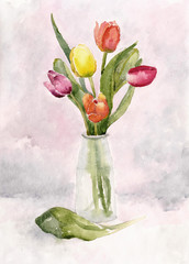 Still life vase with tulips. Watercolor illustration