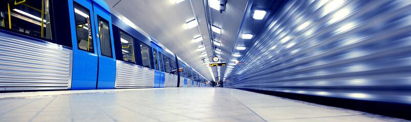 Train arriving to subway station platform