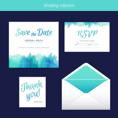 Wedding collection with watercolor