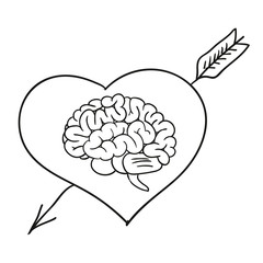 Valentine card with brain. vector