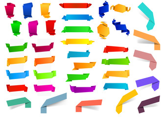 Colorful blank origami ribbons and banners