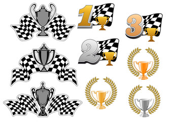 Set of motor sport and racing icons