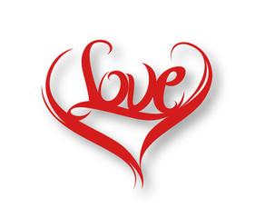 Love text made of 3d vector design element.
