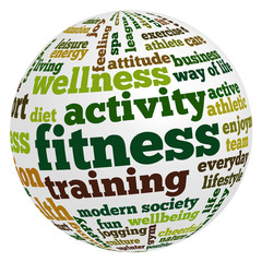 Tag cloud related to fitness, recreation, sports and health
