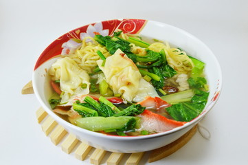 egg noodle with barbecue pork and wanton in the soup