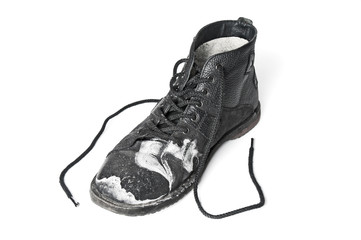 Wall Mural - Single dirty black shoe