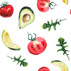 watercolor avocado, rucola and tomats pattern