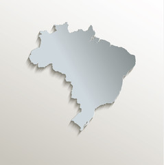 Brazil map white blue card paper 3D vector