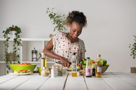 Woman Cooking Salad