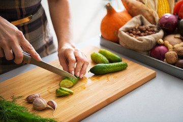 Closeup on young housewife cutting cucumber for pickling