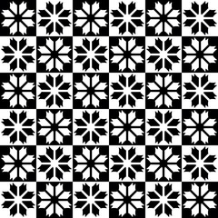 Black - white seamless pattern with a flowers