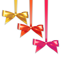 Set of elegant silk color bows.