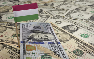 Flag of Hungary sticking in various american banknotes.(series)