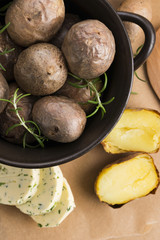 baked potatoes with herbs butter