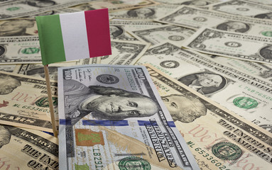 Flag of Italy sticking in various american banknotes.(series)