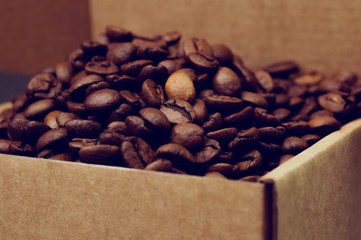 coffee beans in box