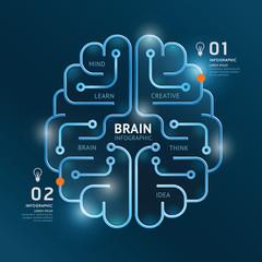 infographics vector brain design diagram banner line style templ