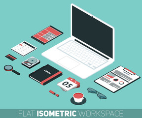 flat isometric design vector illustration of office workspace
