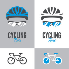 Bicycle, cycling helmet and glasses