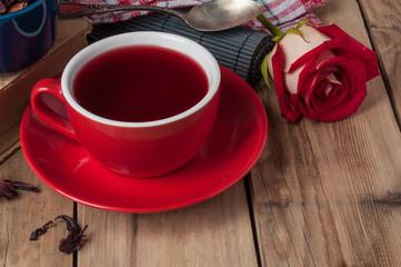 tea ceremony with rosebud