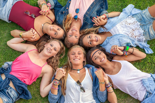happy smiling group of diverse girls