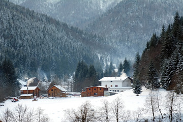 Winter landscape in the Carpathians Mountains