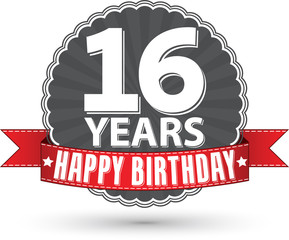 Happy birthday sweet 16 years retro label with red ribbon, vecto