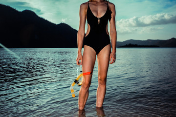 Sexy woman with snorkeling gear