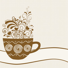 Stylized coffee cup with floral elements