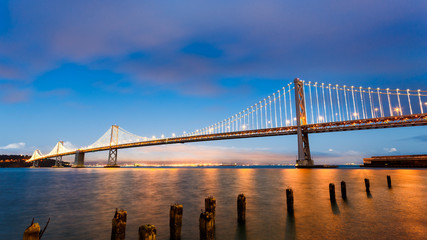 Fototapete - San Francisco-Oakland Bay Bridge at sunset