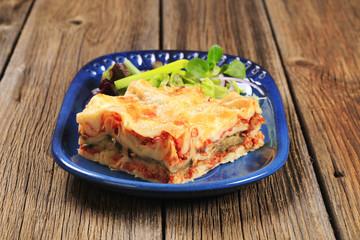 Portion of lasagna