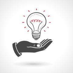 Hand Giving Light Bulb Idea Concept
