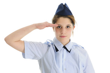 Saluting Jr. ROTC Teen Girl