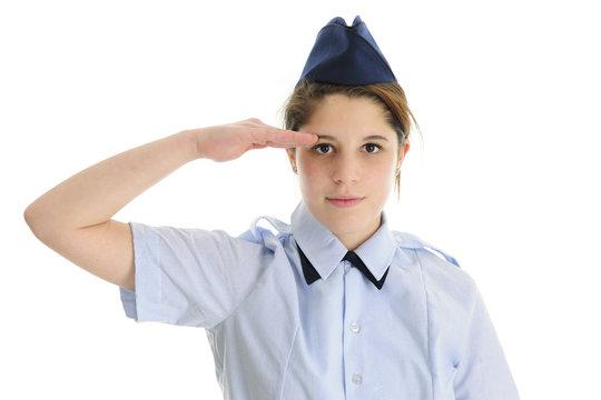 Saluting Jr. ROTC Teen Girl