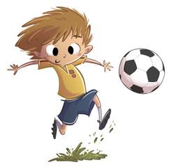 niño jugando a fútbol con balón