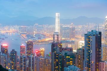 Panorama of Hong Kong skyline at night from Victoria Peak