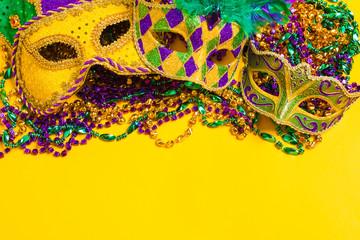 Wall Mural - Mardi Gras Mask on yellow Background