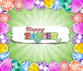 Happy Easter background with eggs in grass and Flowers