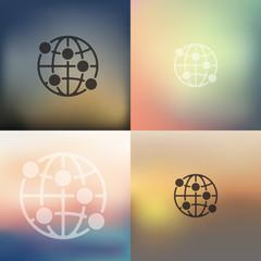 globe icon on blurred background