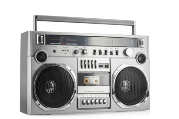 Retro ghetto blaster isolated on white with clipping path Wall mural