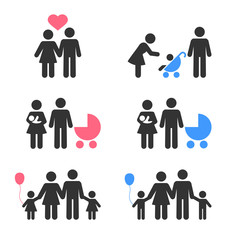 Family icons collection, isolated on white background