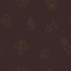 Seamless background with Mexican relics dingbats characters